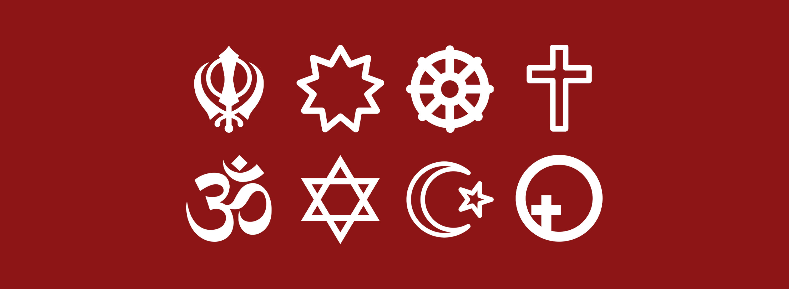 Banner image featuring multi-faith icons in white against a cardinal red background.