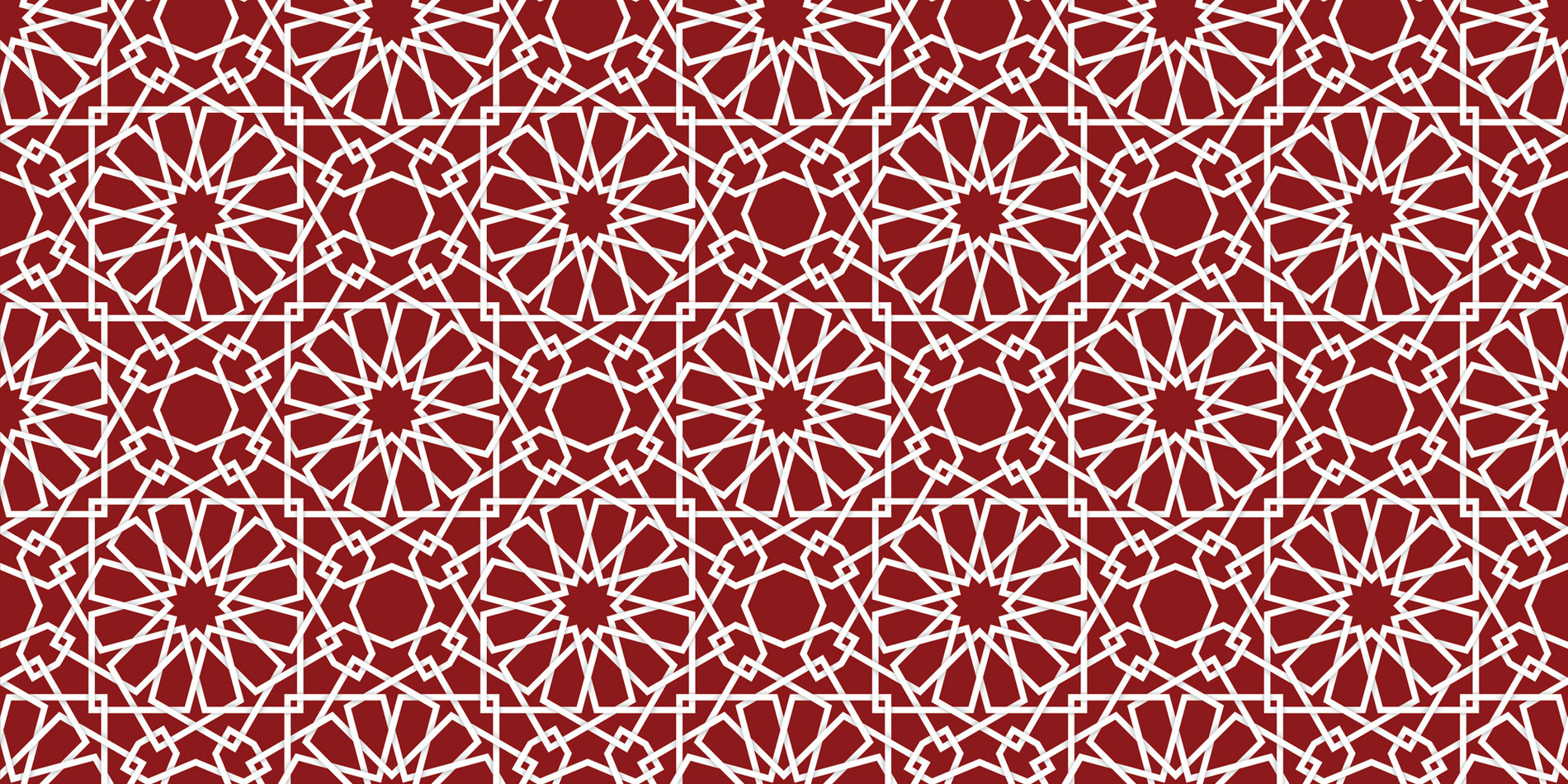 Card color block featuring a muslim inspired pattern in white against a cardinal red background in JPG format.