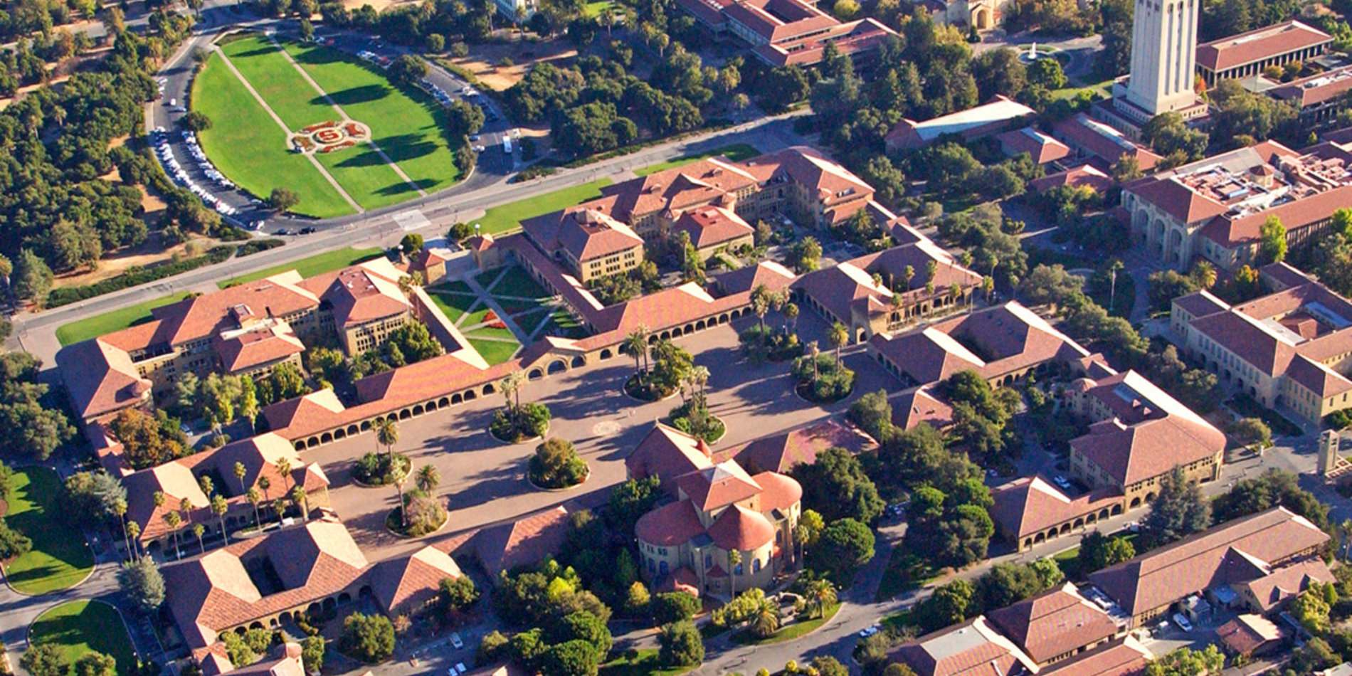 Tile image featuring an aerial view of the main quad of campus, featuring Memorial Church.